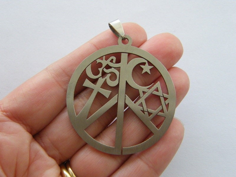 1  Peace sign pendant stainless steel P655