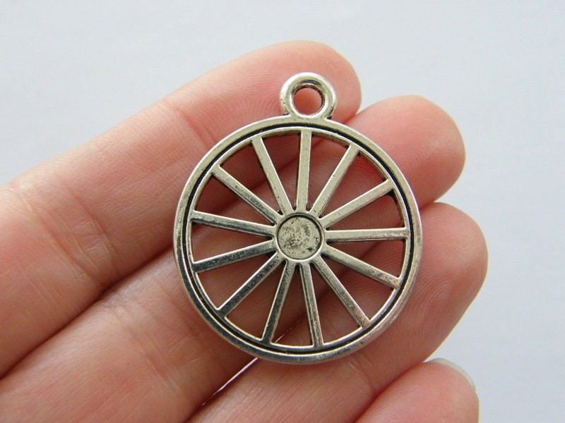 BULK 10 Wheel charms antique silver tone P654