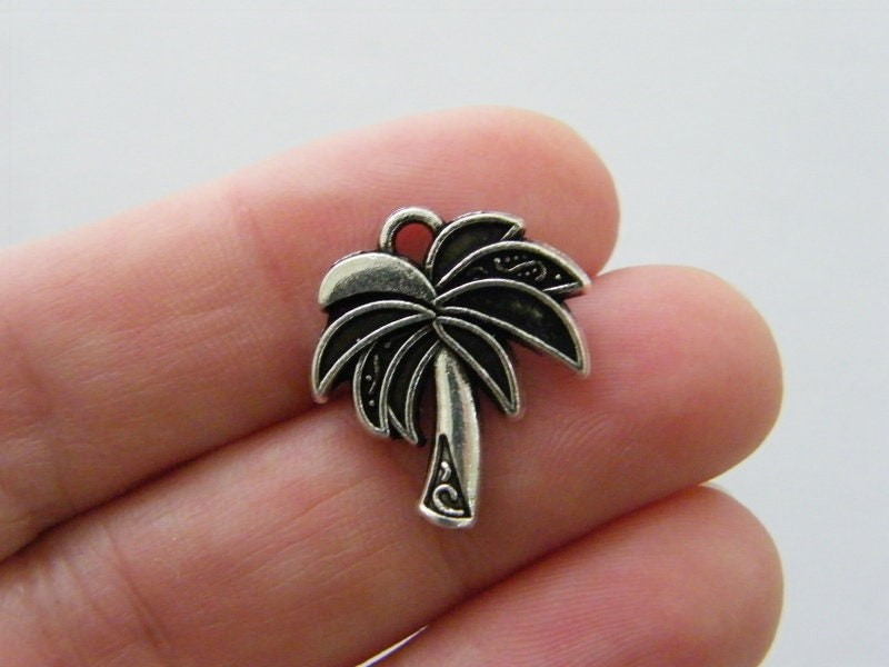 BULK 50 Palm tree charms antique silver tone T71
