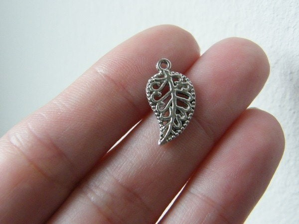 BULK 50 Leaf charms antique silver tone L27