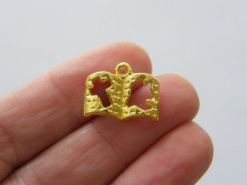 10 Bible charms gold tone GC