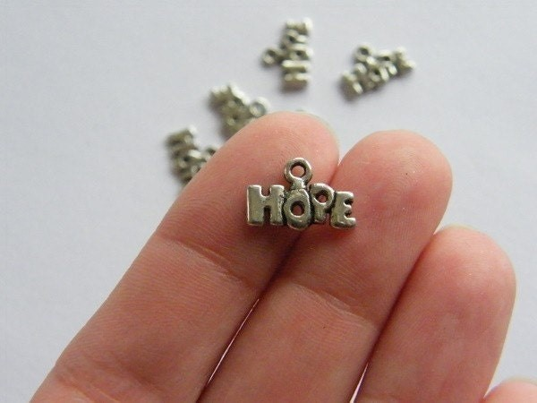 16 Hope charms 13 x 9mm antique silver tone M246