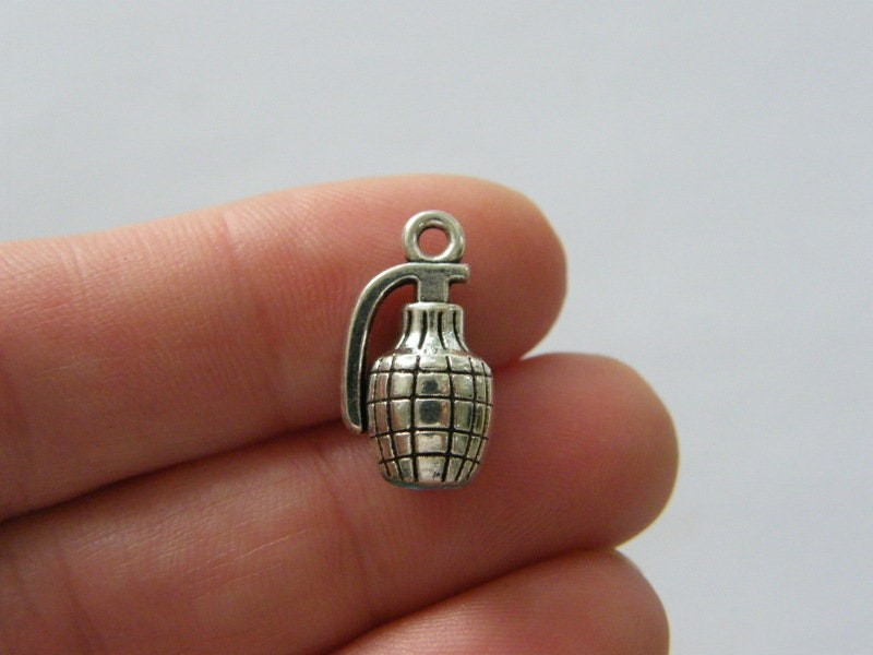 4 Hand grenade charms antique silver tone G108