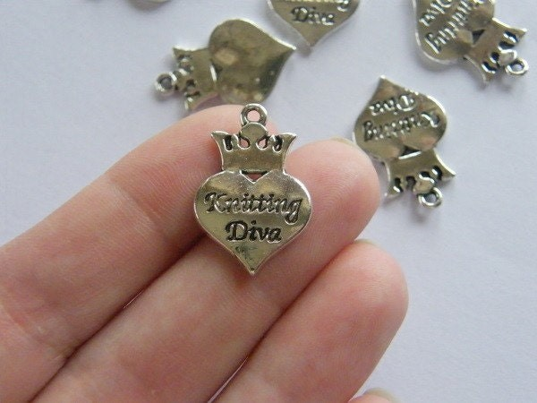 6 knitting diva charms antique silver tone P524