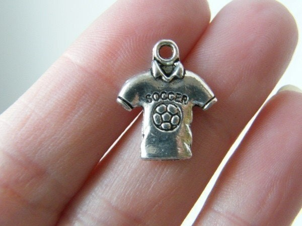 8 Soccer football shirt charms antique silver tone SP26
