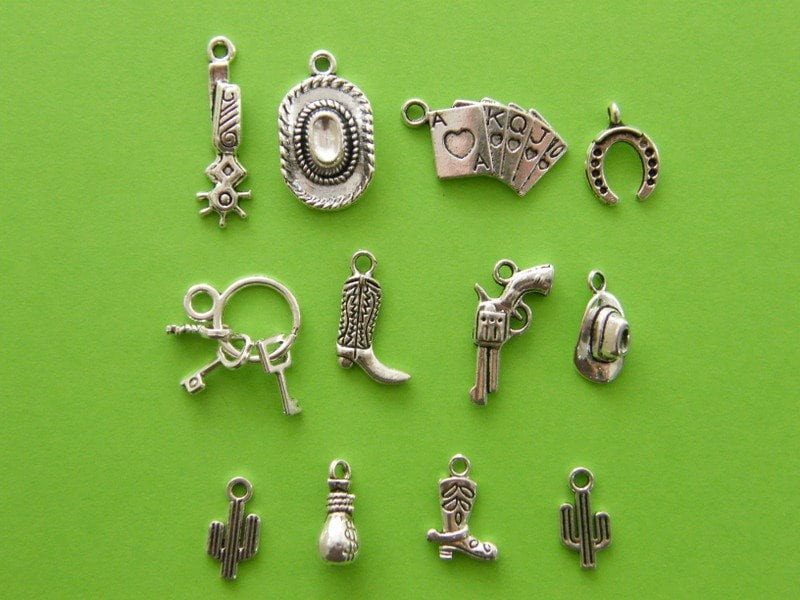 The Cowboy Collection - 12 antique silver tone charms