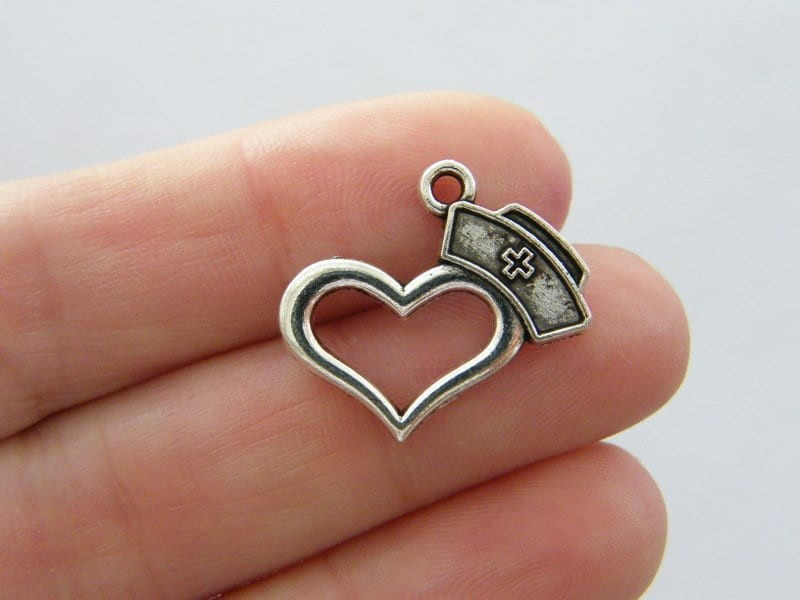 4 Nurse hat cap heart charms antique silver tone MD14