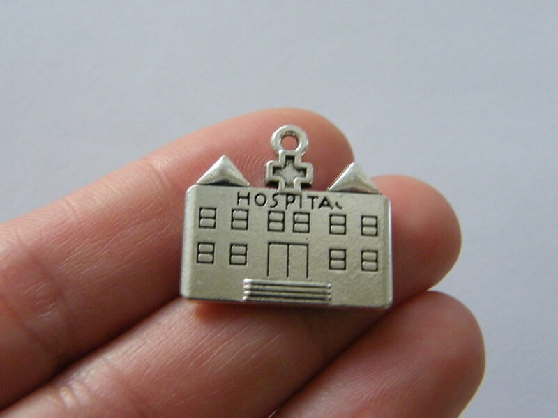 4 Hospital charms antique silver tone MD142