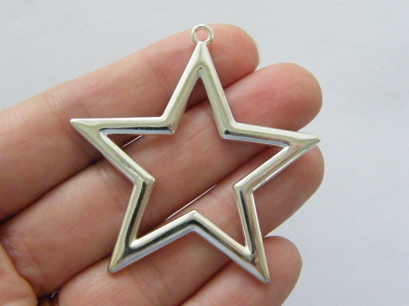BULK 10 Star pendants silver plated tone S166