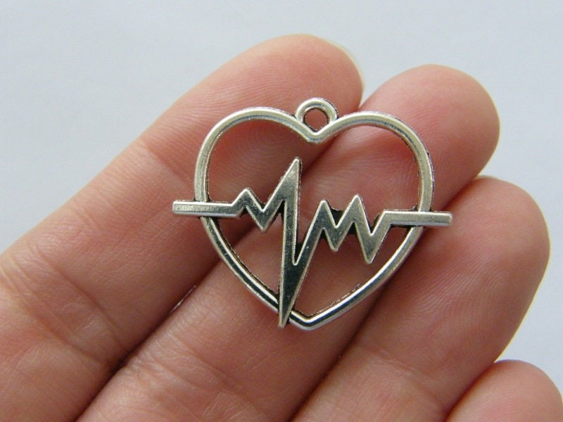 4 Heart rate beat heart charms silver tone MD23