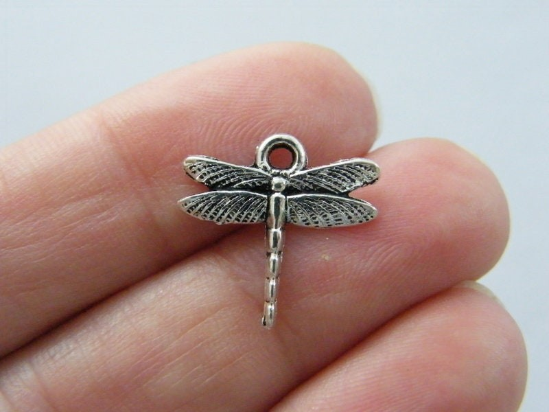 10 Dragonfly charms antique silver tone A212