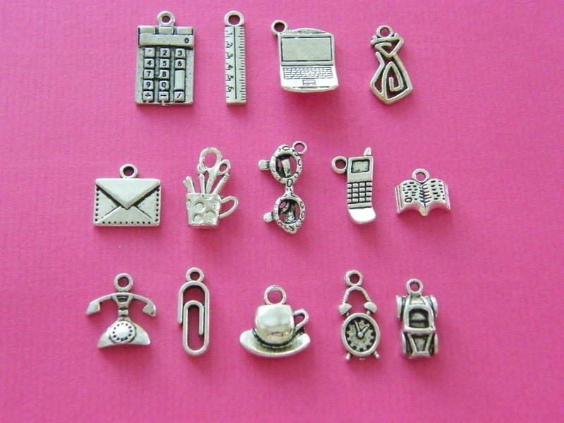 The Office Collection - 14 different antique silver tone charms