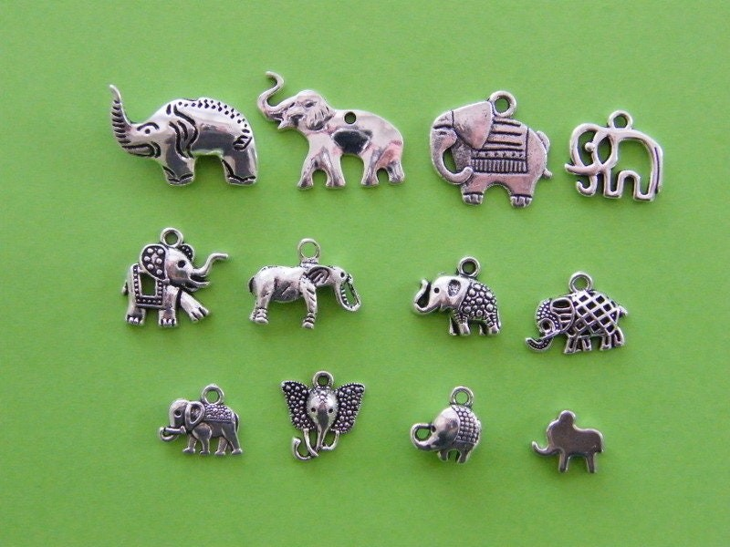 The Elephant Collection - 12 different antique silver tone charms