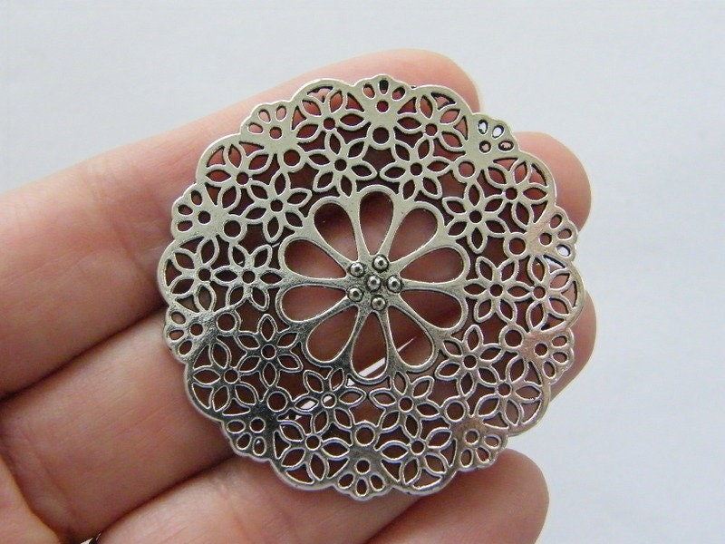 1 Flower connector charm antique silver tone F39