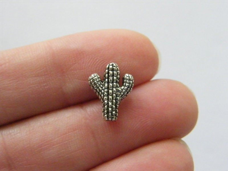 BULK 50 Cactus bead charms antique silver tone L44