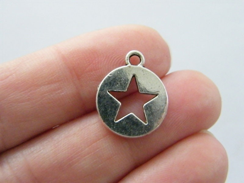 10 Star charms antique silver tone S30