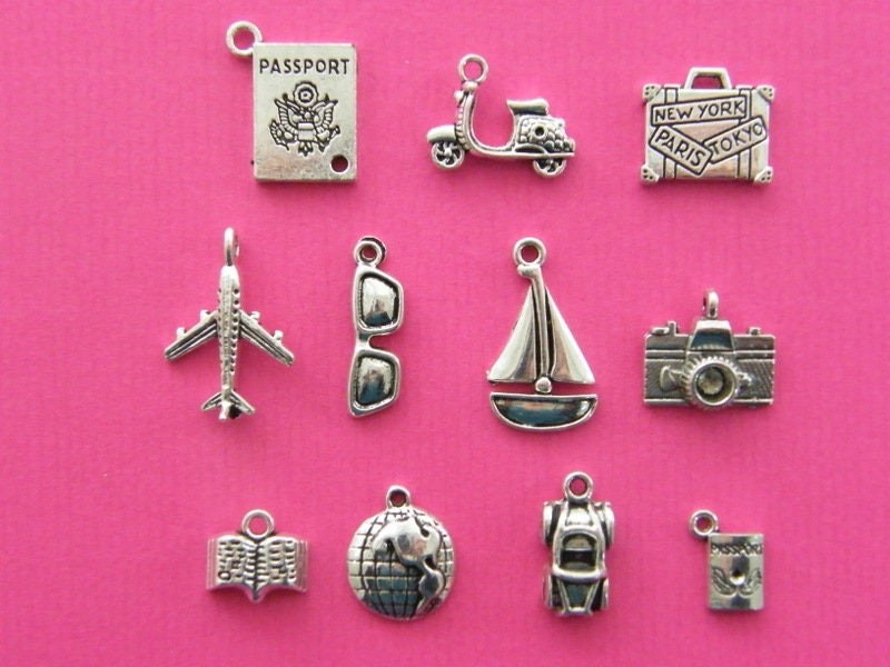 Have Suitcase Will Travel Collection - 11 different antique silver tone charms