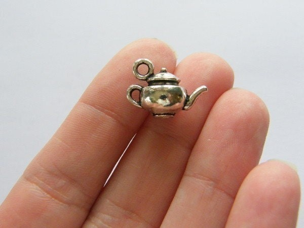 BULK 20 Teapot charms antique silver tone FD48