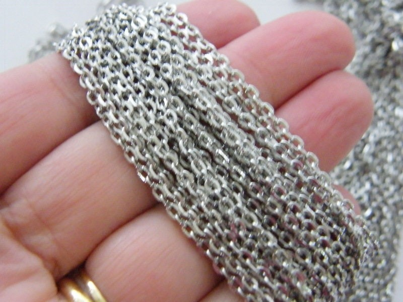 10 Meter Chain  silver  tone 3 x 2mm loops FS256