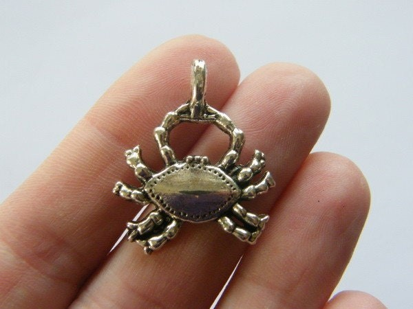 4 Crab charms antique silver tone FF102