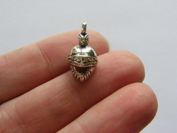 6 Medieval helmet charms antique silver tone SW35