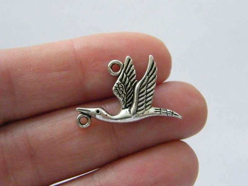 14 Bird  stork connector charms antique silver tone B141
