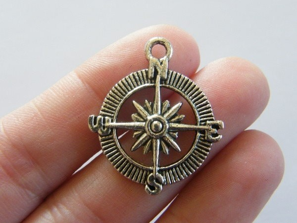 BULK 30 Compass pendants antique silver tone SC60