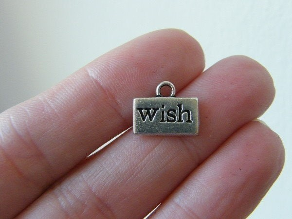 10 WISH charms antique silver tone M260