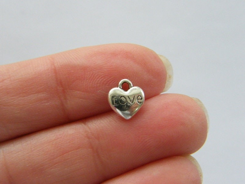 12 Love heart charms antique silver tone H8