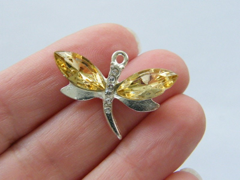 4  Yellow rhinestone dragonfly pendant silver plated A344
