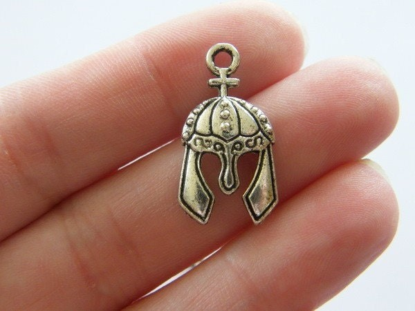 6 Medieval helmet charms antique silver tone SW29