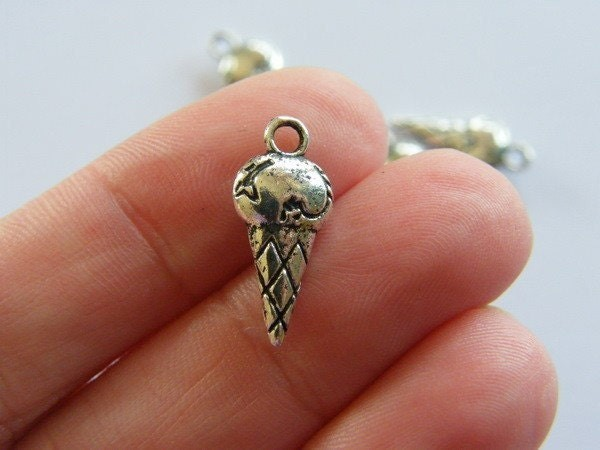8  Scooped ice cream cone charms antique silver tone FD152