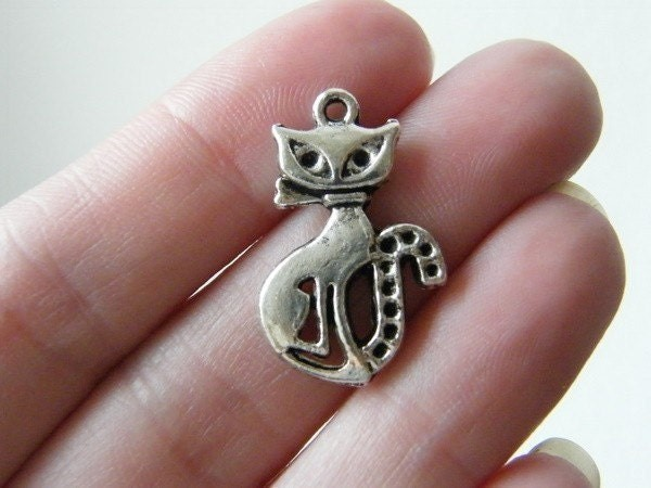 BULK 50 Cat charms antique silver tone A865