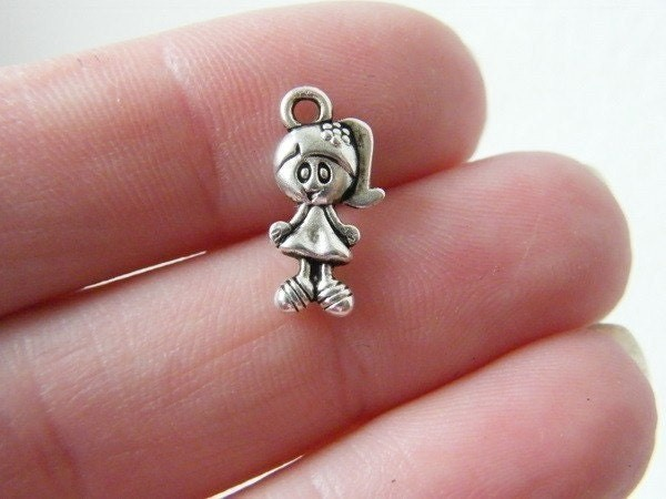 BULK 50 Girl charms antique silver tone P89