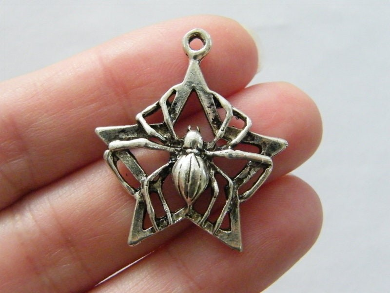 4 Spider star charms antique silver tone HC5