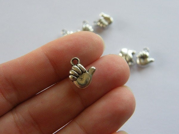 BULK 50 Thumbs up hand charms antique silver tone M37
