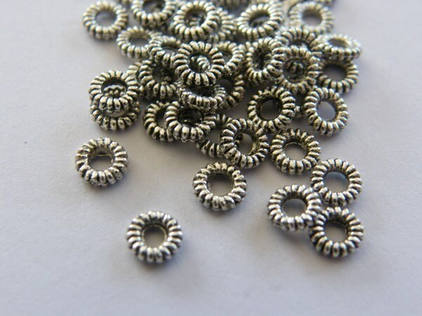 100 Spacer beads antique silver tone FS243