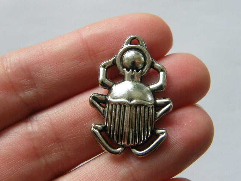 6 Scarab charms antique silver tone WT231