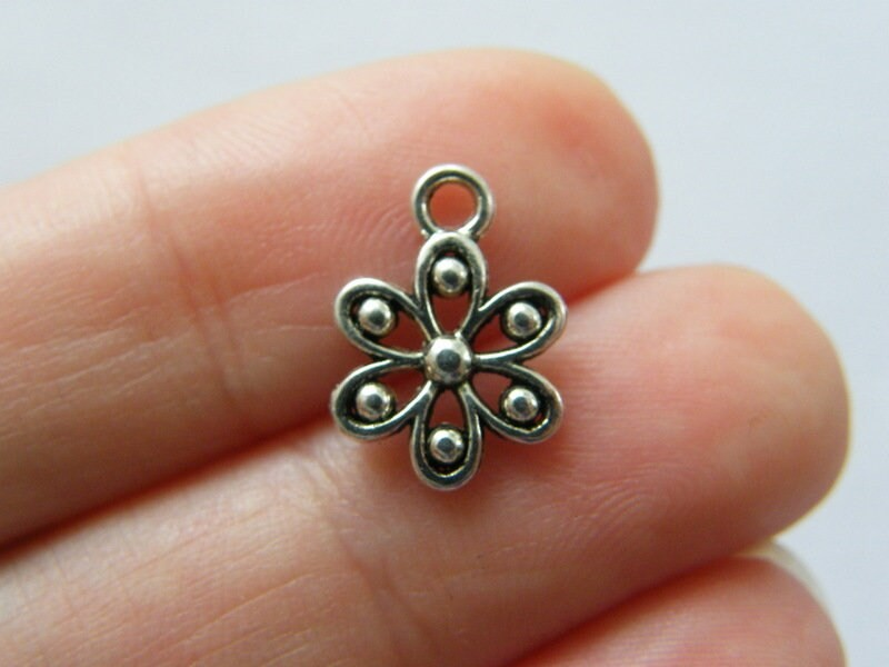 12 Flower  charms antique silver tone F171