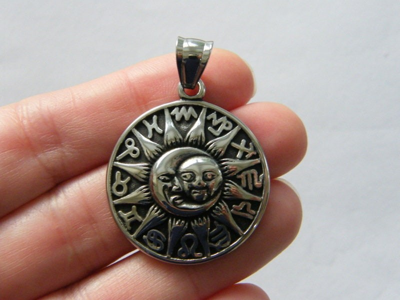 1  Sun moon zodiac pendant antique silver tone stainless steel M121