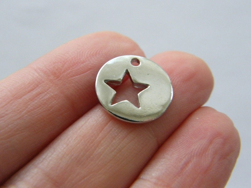 6 Star charms silver tone S62