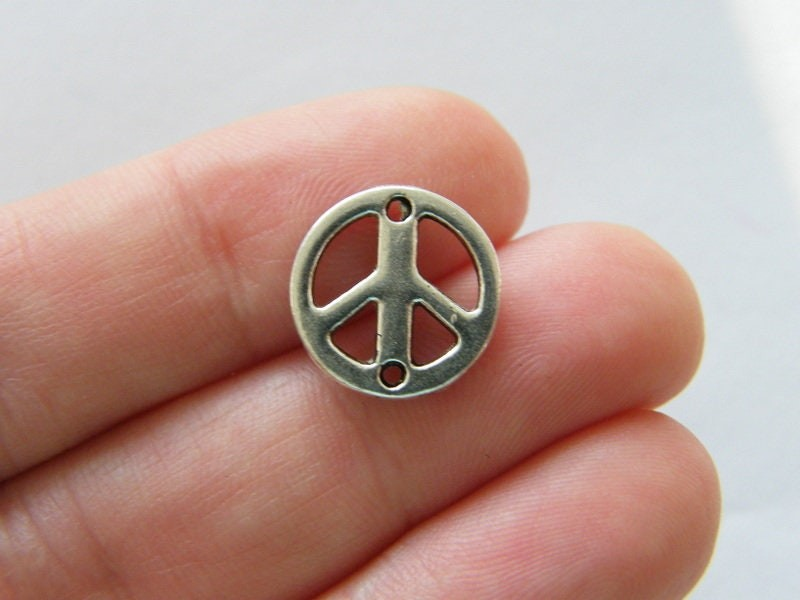 BULK 50 Peace sign connector charms antique silver tone P95