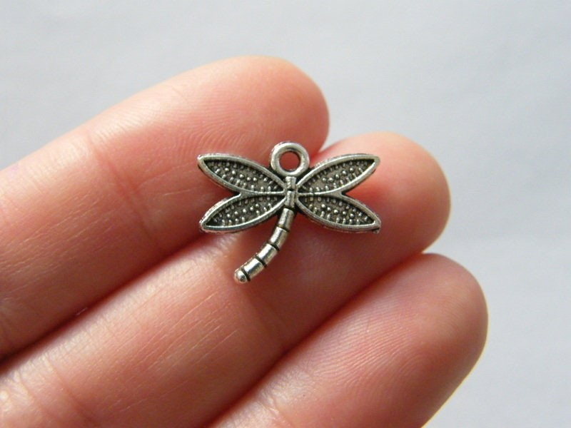 8 Dragonfly charms antique silver tone A1113