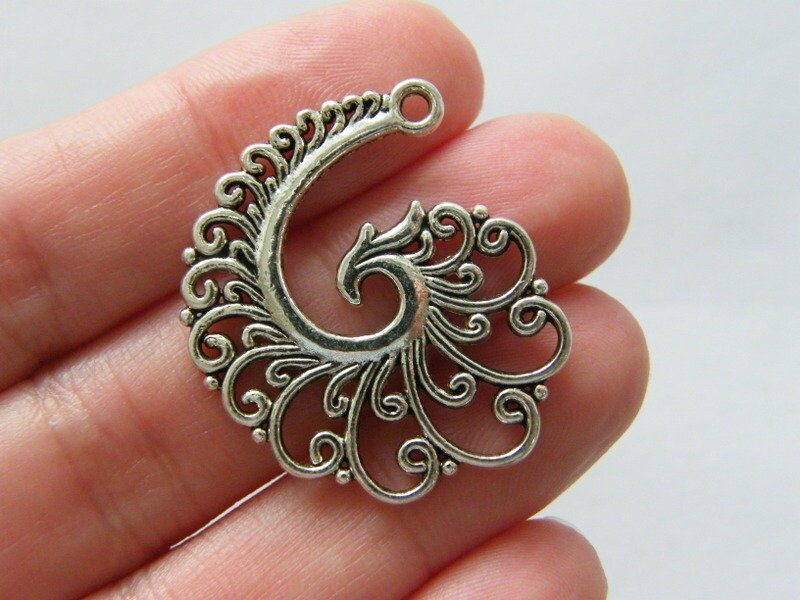 4 Spiral pattern pendants charms antique silver tone FM6