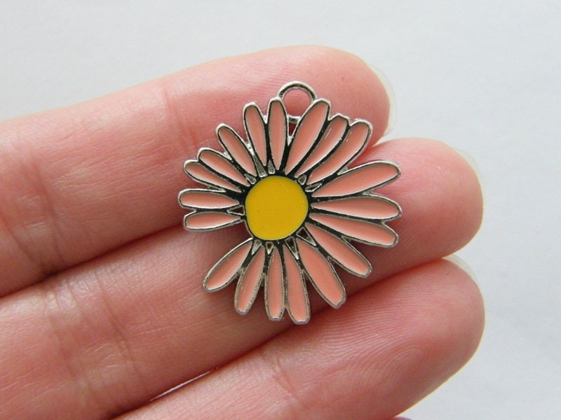 2 Flower charms peach and yellow silver tone F165