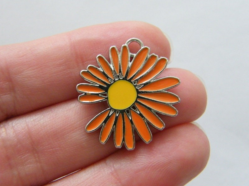 2 Flower charms orange and yellow silver tone F164