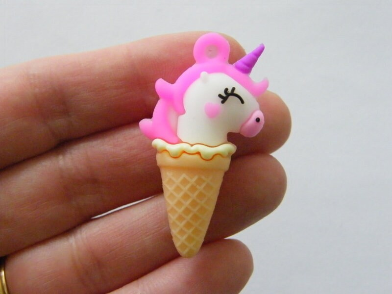 2 Unicorn ice cream cone pendant charms resin FD310