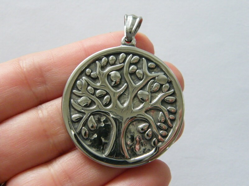 1   Tree of life pendant antique silver tone stainless steel T6