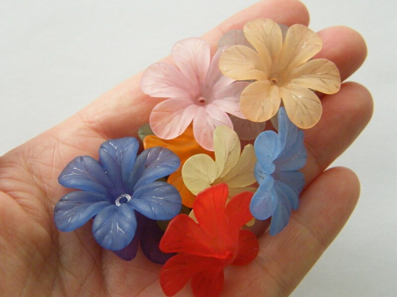 12 Flower bead caps RANDOM acrylic plastic  ABC1