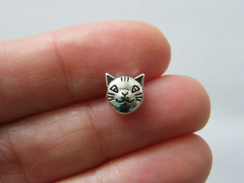 12 Cat spacer bead charms antique silver tone A1095